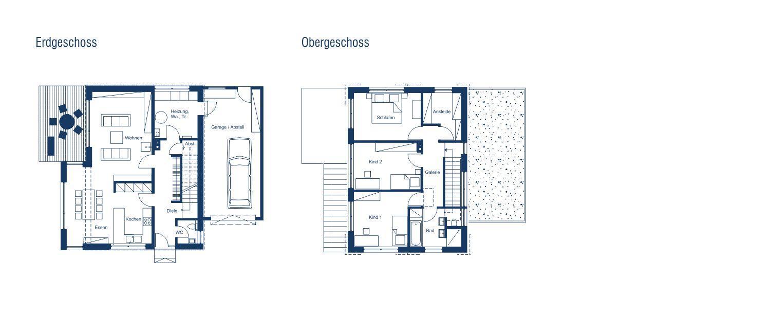 Einfamilienhaus modern mit flachem satteldach m rth for Exquisit grundriss modern