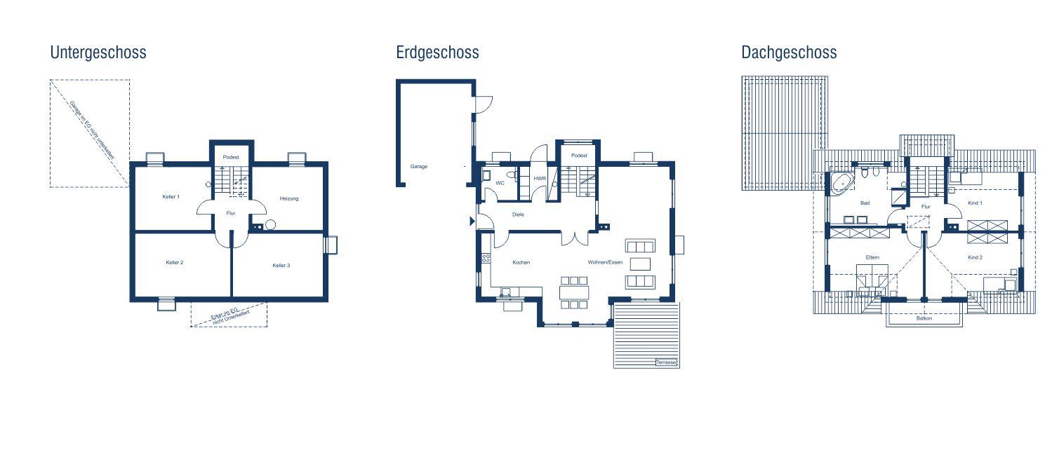 Einfamilienhaus elegant mit satteldach und widerkehr for Exquisit grundriss modern